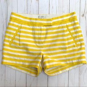 J Crew Striped Cotton Blend Textured Shorts Yellow